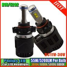 Высокое качество 3000 К 4000 К 5000 К 6000 К 2×55 Вт CANBUS Автомобилей P6 LumiLEDs ЛМЗ СВЕТОДИОДНАЯ Лампа 10400LM Авто H16 5202 лампы Фар комплекты