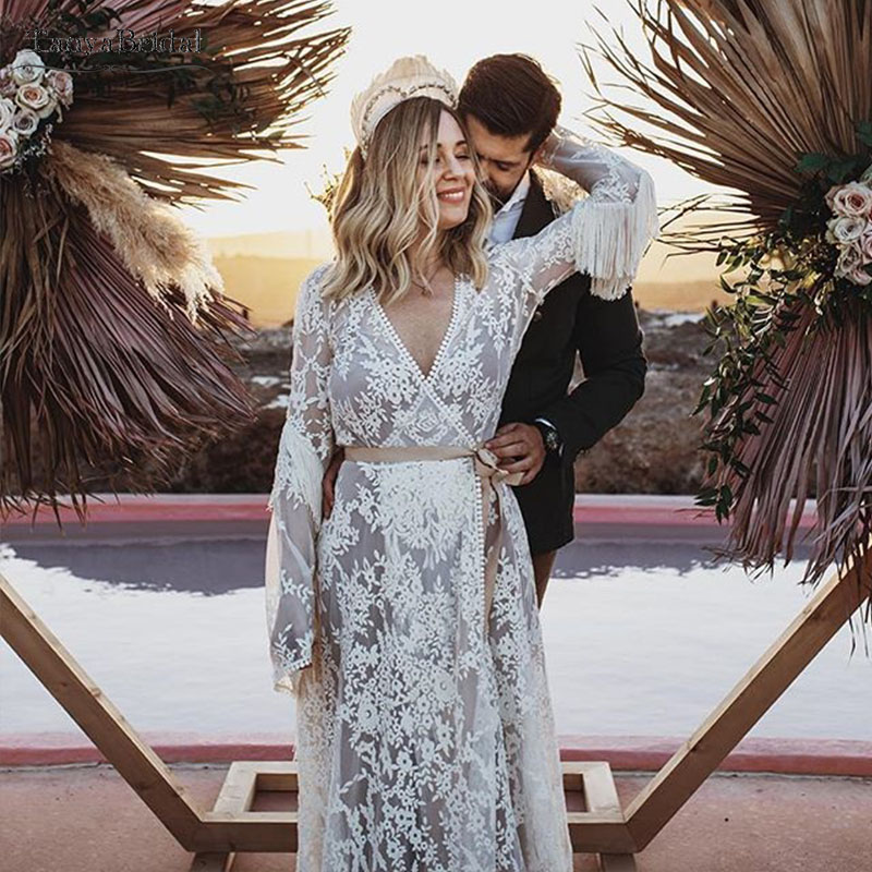 Bohemian Wedding Dress Long Sleeve Fashion Bridal Gowns  Vestido De Noivas DW141