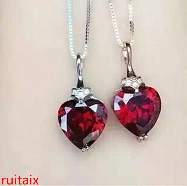 boutique jewels 925 Pure silver natural heart - heart garnet necklace set with ornaments chain.