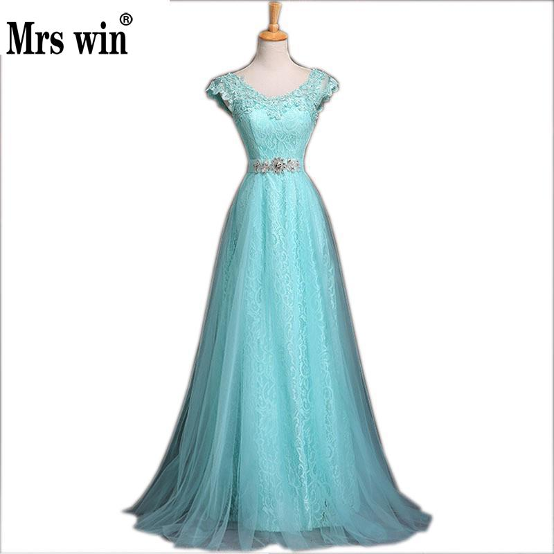 2018 New Fashion Blue Lace Evening Dress Bridal Banquet Party Elegant Long Prom Dresses Plus Size
