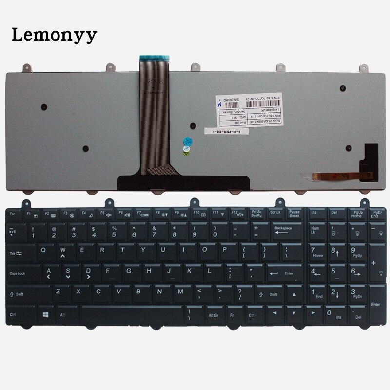 Nouveau clavier US rétroéclairé pour Clevo P150EM P170EM P370EM P570WM P170sm P150sm P370sm P375SM P270WM clavier d'ordinateur portable anglais noir