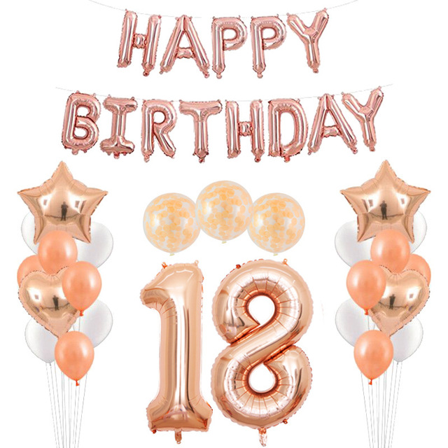 Detail Feedback Questions About 18 Years Old HAPPY BIRTHDAY Balloons Adult Birthday Available Rose Gold Foil Coming Of Age Party Supplies