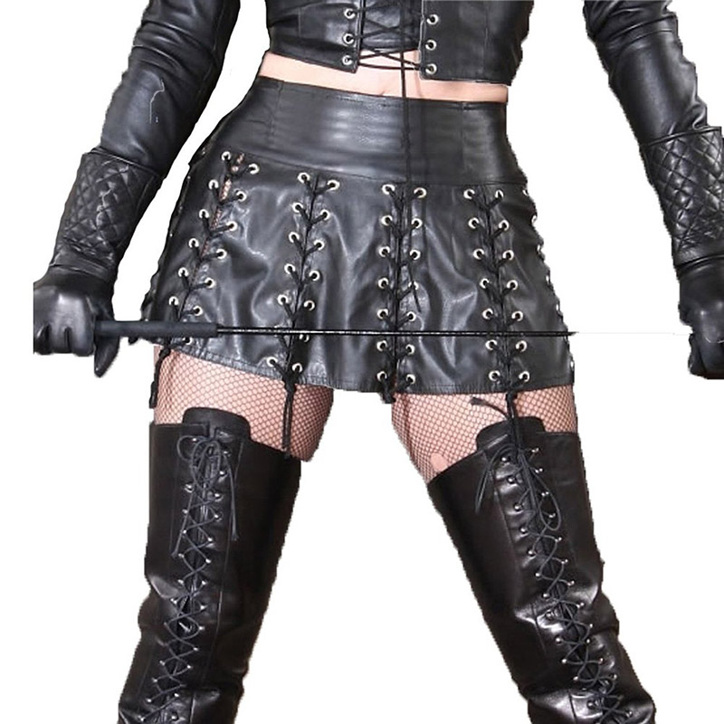 Wonder Beauty New Gothic Faux PU Leather Skirt Women Vintage High Waist Lace Up Design A-Line Skirt Female Nightclub Short Skirt