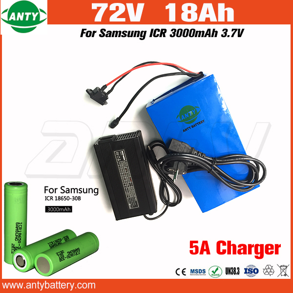 Lithium 72v 18Ah e Bike Battery 1500w for Samsung 3000mAh 18650 Cell with 5A Charger Electric Bicycle Battery 72v Free Shipping 30a 3s polymer lithium battery cell charger protection board pcb 18650 li ion lithium battery charging module 12 8 16v
