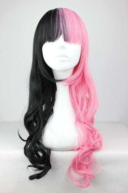 Black and Pink Wig Synthetic Sexy Party Hair Women's Long Curly Cosplay Anime Full Wigs Black and Pink Wig