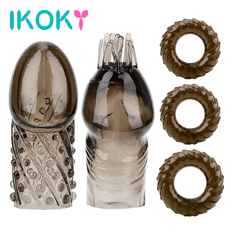 Buy IKOKY Enlargement Penis Extender 5pcs/set Crystal Glans Sleeve Cock Rings Male Penis Rings Sex Toys Men Ejaculation Delay