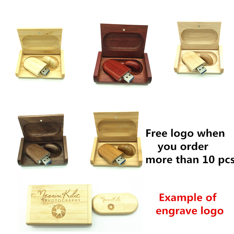 Customer LOGO Wedding Gift Wooden USB 3.0 pen drive with Box 8GB 16gb 32gb 64gb Usb Flash Drive USB Memory Stick Festival Gift festival gift simulation rose soap flowers with gift box
