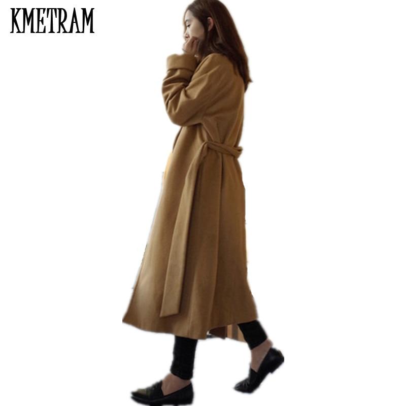 2019 New Arrive Brand Women Cashmere Coat Warm Autumn Winter Overcoat Belt Full Sleeve Coats Woman Casual Casaco Feminino GQ1650