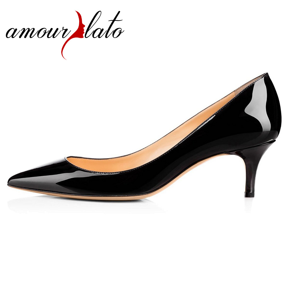 Amourplato Women's  Kitten Heel Pumps Slip On Closed Toe Patent Shoes Work Office Business Dress Shoes Black Beige Size5-13 amourplato women s fashion pointed toe high heel sandals crisscross strap pumps pointy dress shoes black purple size5 13