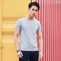 Simple casual fashion trend men's summer retro short sleeve t shirt