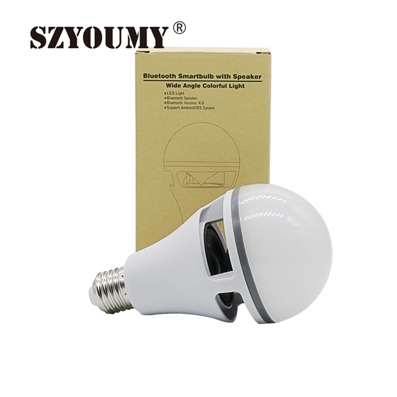 цена SZYOUMY Smart LED Bulb Bluetooth Speaker LED RGBW Light E27 B22 Base Wireless Music Player with APP Remote Control