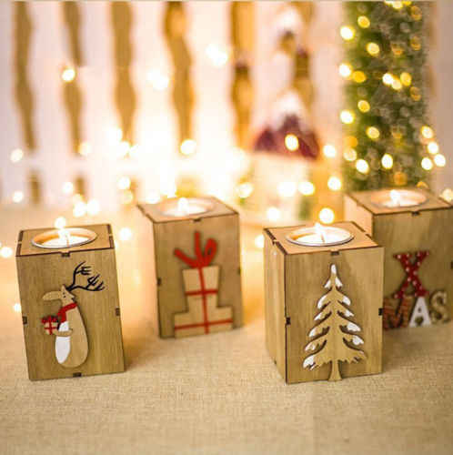 Christmas Wood Candle Holder Candlestick Table Lamp For Tea Light Decoration GOOD Quality 2018 New