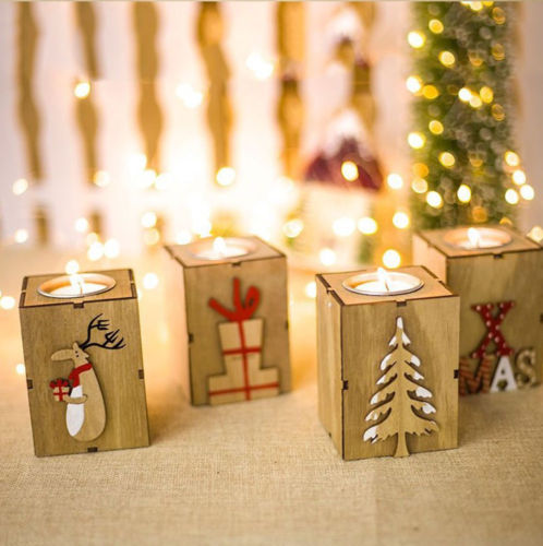 christmas wood candle holder candlestick table lamp for tea light decoration good quality 2018 new in candle holders from home garden on aliexpresscom - Christmas Log Candle Holder Decorations
