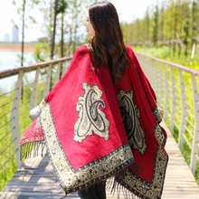 New Winter Womens Shawl National Style Thicken Warm Cashmere Tassel Cape Scarves Long Section Soft Lady Wrap Poncho
