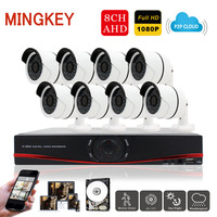 Mingkey 8CH 2 0MP DVR Kit AHD Outdoor Security Camera 1080P Home Surveillance Camera System 3000TVL