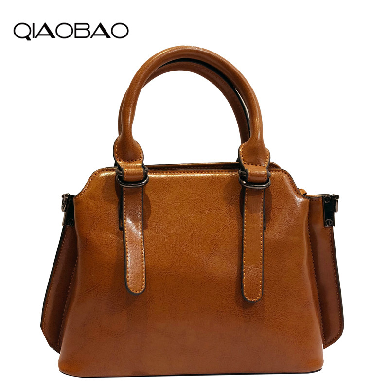 4db564af6f QIAOBAO 2018 genuine cowhide leather handbags wholesale new shoulder bag  ladies wax leather tote bag Fashion Flap Bags