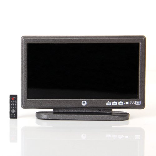 Dollhouse Miniature Widescreen Flat Panel LCD TV with Remote Gray