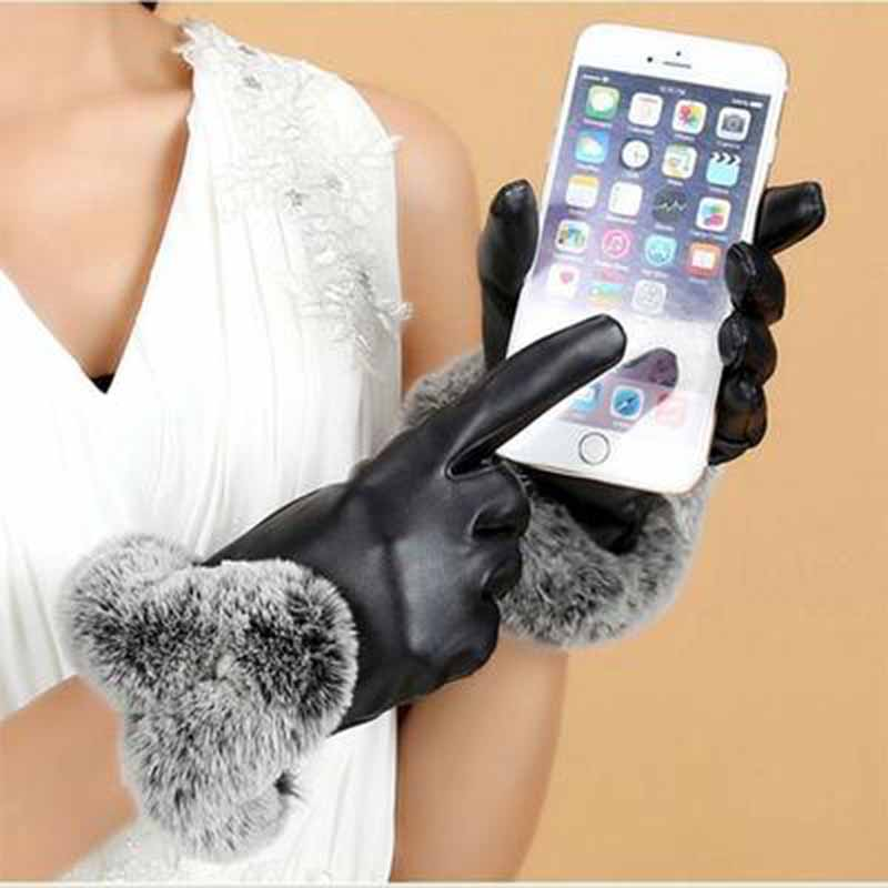 Women Winter Gloves Touch Screen Gloves PU leather Female gloves Waterproof Faux Rabbit Fur mujer gants guantes tactil luvas