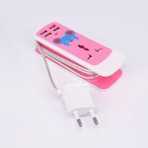 "Image 2 - הארכת שקע ארה""ב AU האיחוד האירופי Plug נייד לשקע נסיעות מתאם כוח רצועת חכם שקע 4 USB מטען יציאות עבור טלפון"