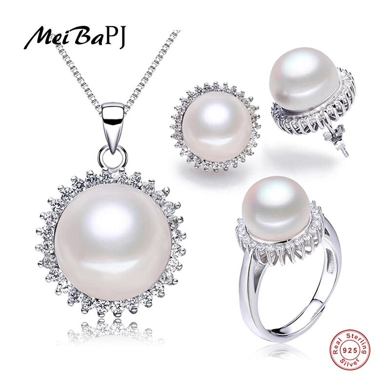 [Meibapj] Новая мода естественный пресноводный жемчуг Подсолнух комплект ювелирных изделий наивысшего качества ожерелье серьги и кольцо Серебряный набор для женщин