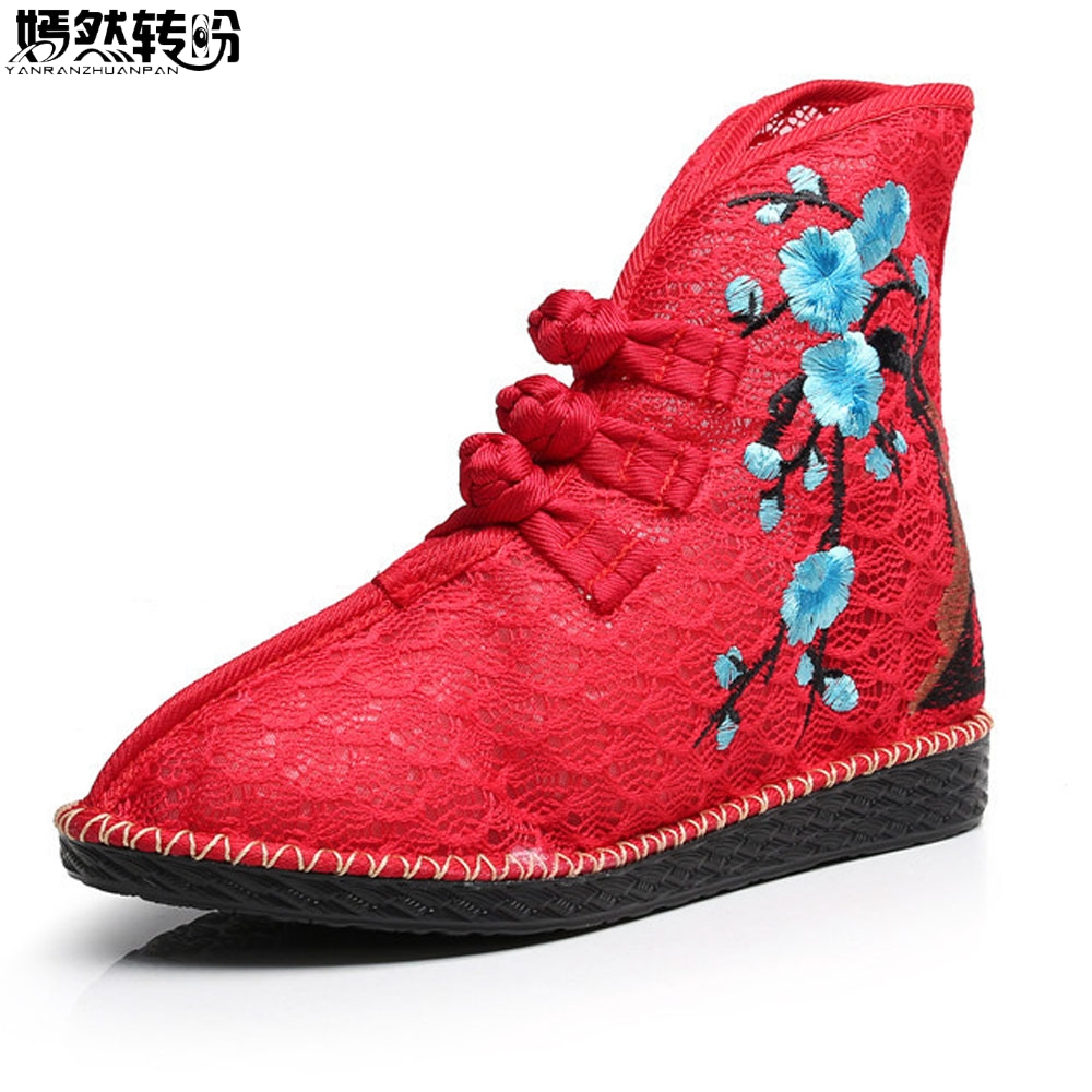 все цены на New Arrive Chinese Women Boots Plum Blossom Embroidered Ankle Boots Brathable Ladies Soft Canvas Shoes Woman Zapato Mujer