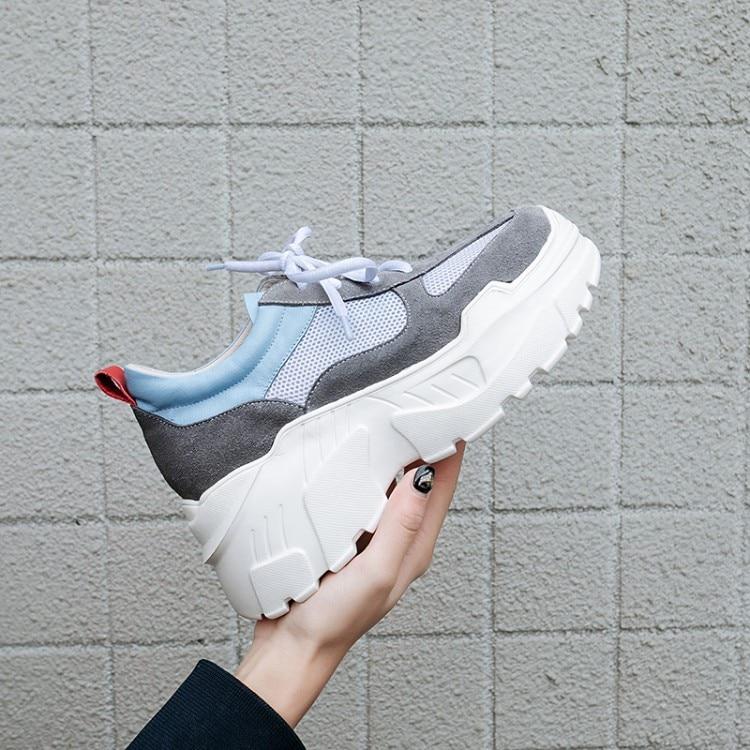 Chaussures 2019 Femmes Baskets Dames À Gris Maille Décontractées Respirant Semelles apricot Plat Compensées Printemps Nouveau Lacets qFIwxRFr