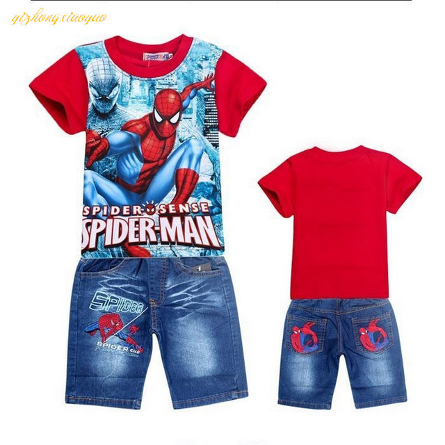 2017 Retail spiderman kids clothing sets,fashion cartoon children summer shirt jeans shorts set, toddler boys clothing