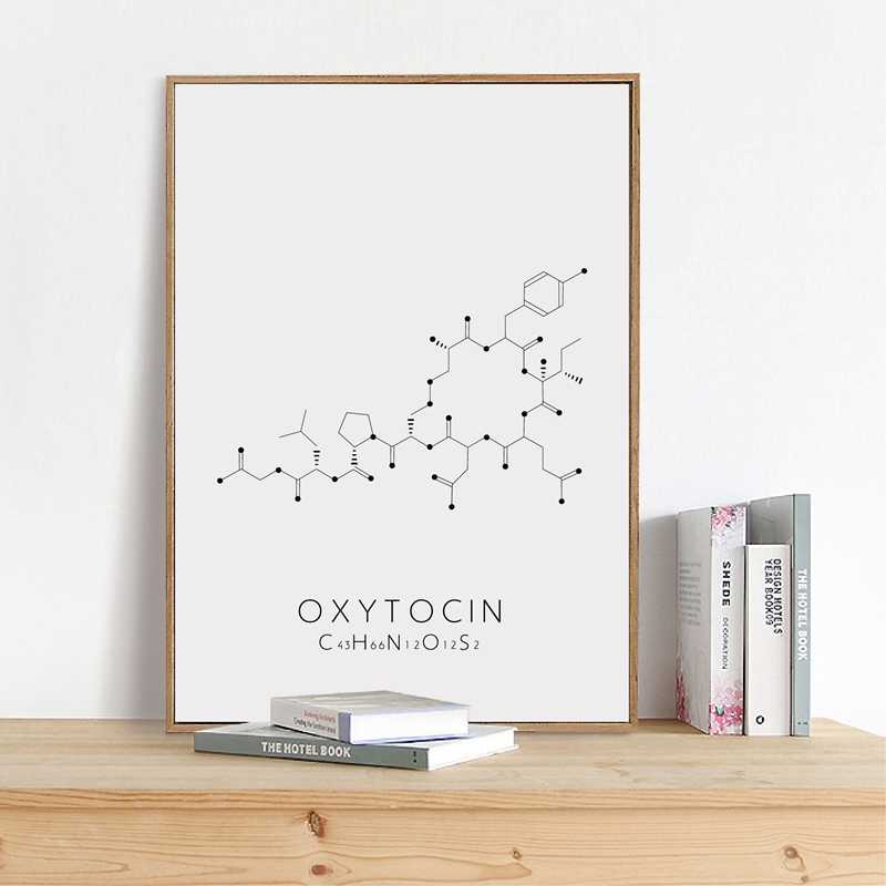 Molecule Serotonin Wall Art Canvas Poster Print Oxytocin & Dopamine Painting Molecular Structure Picture Chemistry Science Decor