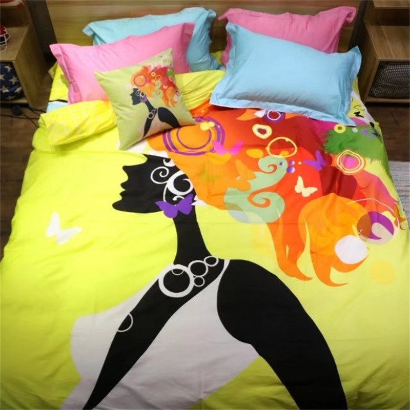 Bright Colored Butterfly and Girls Bedding Set Queen Size ...