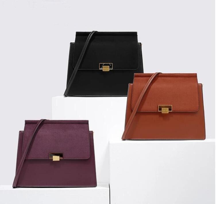 Blascher Luxury Designer Retro Trapezoid Big Briefcase Bag Wide Shoulder Strap Commuting Messenger Bag For Ladies MBA73