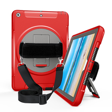 Case for iPad 9.7 inch 2017 2018 Child Proof Tablet Cover with 360 Degree Rotation Hand Strap Shoulder FTL02