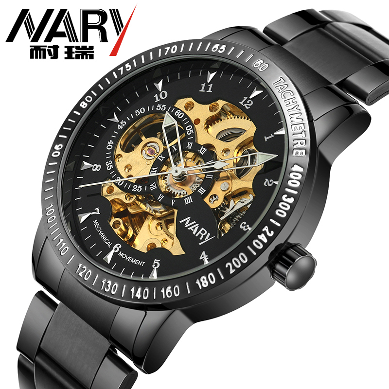 все цены на  Nary Luxury Men's Automatic Self-Wind Mechanical Watch 3ATM Waterproof Hardlex Stainless Steel Men Wrist watch relogio masculino  в интернете