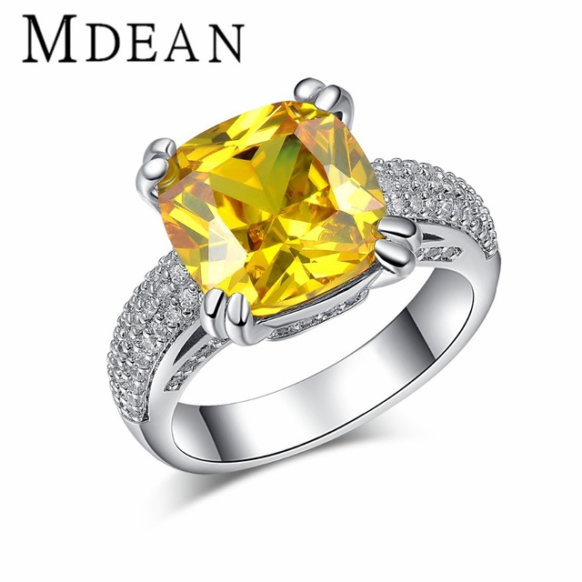 MDEAN White Gold plated big yellow stone Rings For Women CZ diamond jewelry engagement wedding women rings bijoux bague MSR178