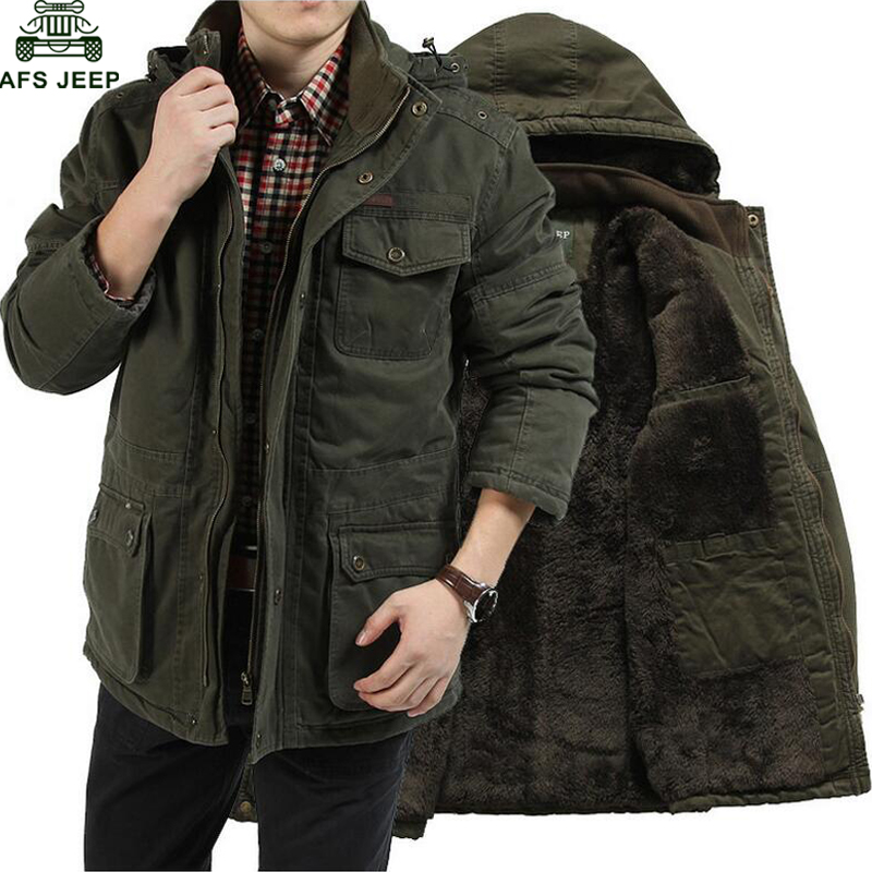 AFS JEEP Plus Size 7XL 8XL Winter Jacket Men Cotton Cashmere Parkas Men Casual Multi-pockets Hooded Collar Windbreaker Parkas