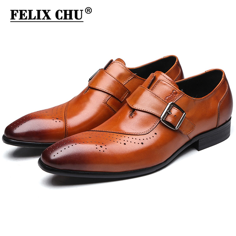 FELIX CHU 2017 New Genuine Leather Single Buckle Mens Formal Brogue Man Office  Party Wedding Slip