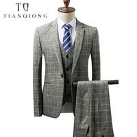 Mens Wedding Party Suits Purple Plaid Man Dress Suit 2018 Classic Blazer Jacket 3 Pieces Mens Vest and Pants Set Suit