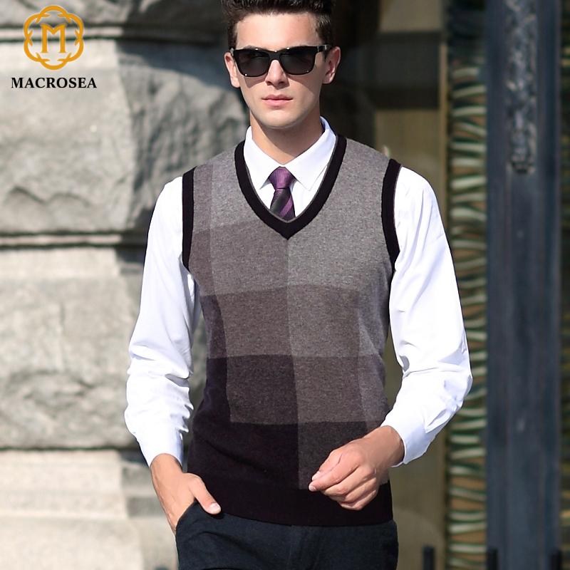 Autumn Winter Vest Sweaters Classic Design Pure Wool Vest Men's Contrast Color Plaid Pullover Male Sleeveless Sweaters