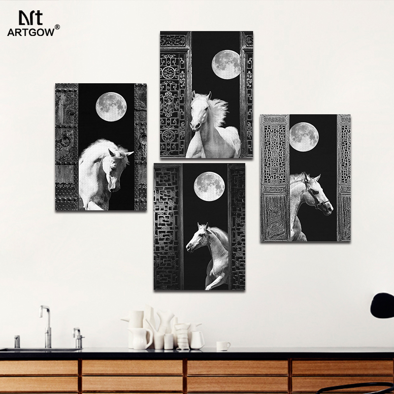 Lujo retro negro blanco salón decoración caballo Luna lienzo pintura ...