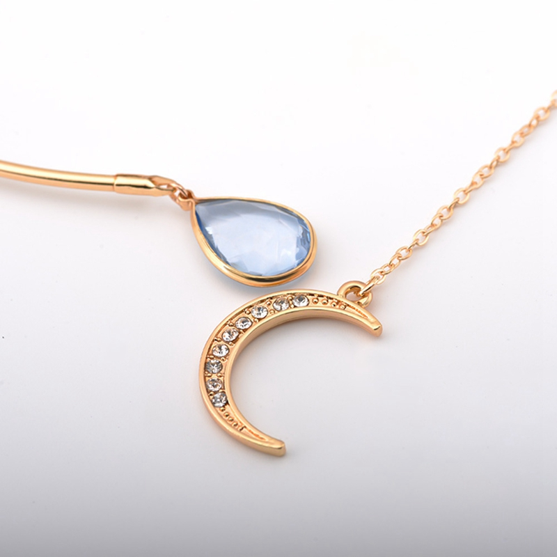 New Creative Moon Pendant Open Choker Necklace For Ladies Elegant Crystal Cuff Collar Necklace Statement Party Fashion Jewelry