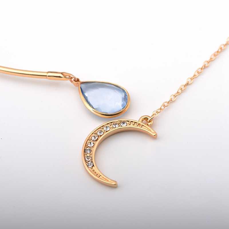 Yeni yaratıcı ay kolye açık gerdanlık kolye bayanlar zarif kristal manşet yaka kolye bildirimi parti moda takı