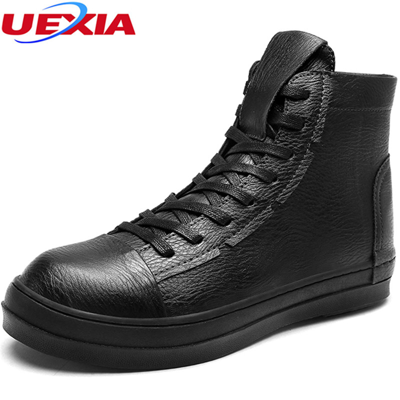 UEXIA High-top Leather Men Casual Shoes Fashion Top Quality Hip-hop Moccasins Slip On Flats Men Boots Handmade Soft Comfortable new summer breathable men genuine leather casual shoes slip on fashion handmade shoes man soft comfortable flats lb b0009