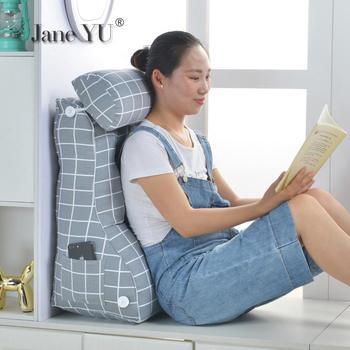 JaneYU Backrest Sofa Big Backrest Cushion Tatami Bed Backrest Washable Cushion