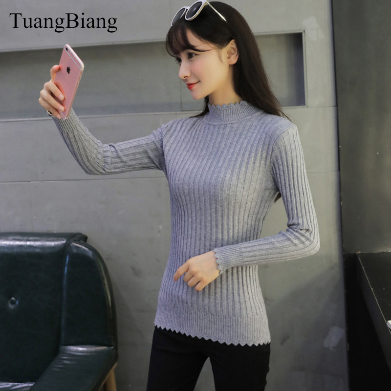Turtleneck Women Jumpers Casual Knitted Long Sleeve Thick Sweaters For Women Solid Color Ruffles Thicken Slim Elasticity Sweater