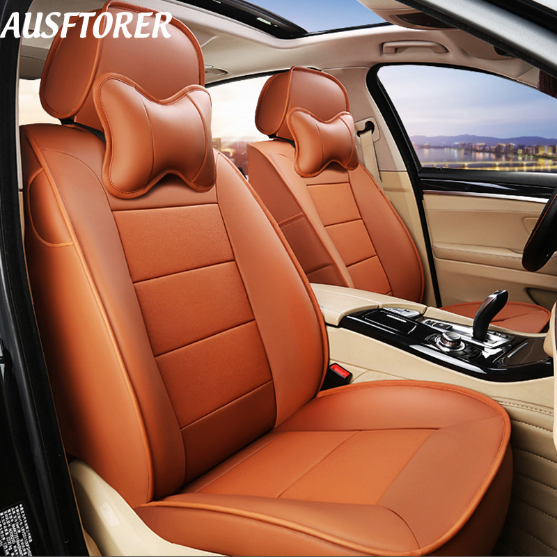 AUSFTORER Genuine Leather Seat Cushion for Volkswagen (VW) Passat B8 Wagon Variant Automobiles Seat Cover Protectors Accessories
