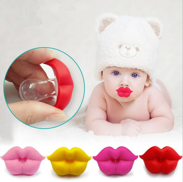 New Baby Pacifier Red Kiss Lips Dummy Pacifiers Funny Silicone Baby