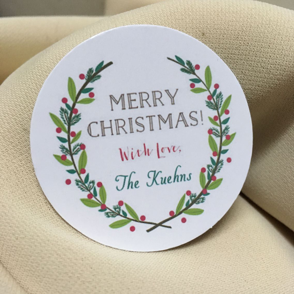 Christmas stickers round, wreath with leaves and berries, gift ...