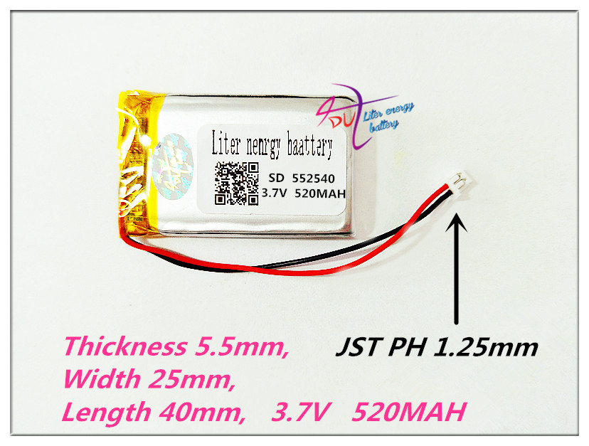 XHR-2P 1.25 552540 3.7V,520mAH, Polymer lithium ion / Li-ion battery for DVR RECORD,MP3,MP4,TOY,GPS,SMART WATCH,SPORT CAMERAXHR-2P 1.25 552540 3.7V,520mAH, Polymer lithium ion / Li-ion battery for DVR RECORD,MP3,MP4,TOY,GPS,SMART WATCH,SPORT CAMERA