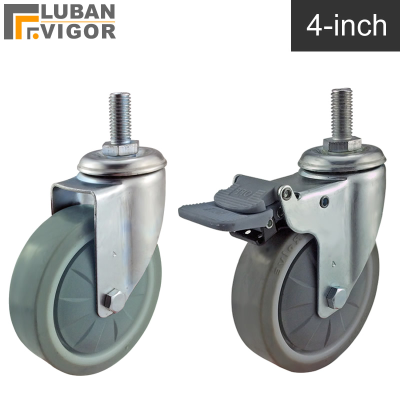 4 inch ,TPE tread Universal wheel/casters,with brake,M12X25,Wearable,impact-resistant, ground protection furniture casters 2017 girl princess dresses children clothing high quality sofia princess cosplay costume kid s party dress baby girls clothes