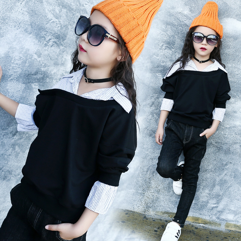 Kids Girls Blouses with Collar Stripe Patchwork Long sleeve Shirt Fashion Children Girl Spring Clothing Girls Shirt Tops Black
