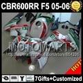 7gifts INJ For RED Castrol HONDA CBR600RR 05 06 CBR600 RR F5 Repsol CBR 600RR 2005 2006 JK361 white green CBR600F5 05 06 ABS bod